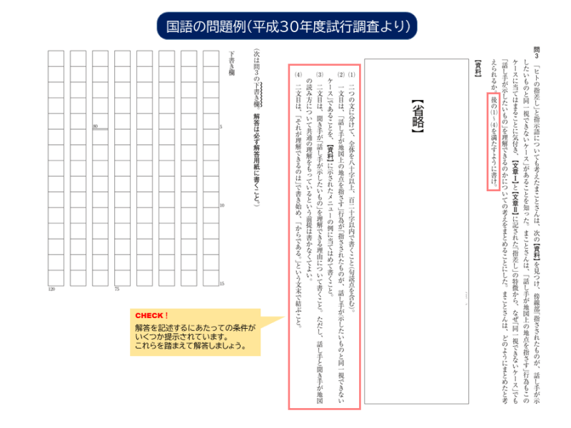 平成30年度試行調査|国語小問(3)